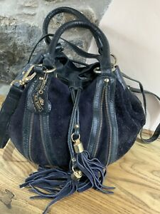 Women's Navy Blue Suede Leather Slouch Style Bag & Tassel by River Island