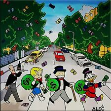 """Alec Monopoly Banksy Oil painting on Canvas Abstract Abbey Road Beatles 28x28"""""""