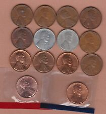 More details for 14 usa lincoln one cent coins 1916 to 1992d in fine to mint condition.