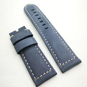 24mm 120/75mm Gray Calf Suede Leather PAM Strap For PAM RADIOMIR LUMINOR Watch