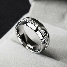 Men/Women Sz11 CZ Couple Stainless Steel Wedding Ring Titanium Engagement Band