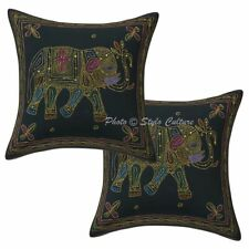 Indian Cotton Pillow Covers 16 x 16 Zari Embroidered Elephant Cushion Cover