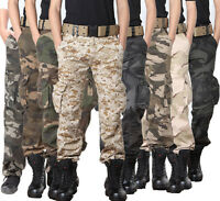 Men's Army Military Cargo Pants Combat Camo Casual Trousers Camouflage Cotton