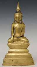 18th Century, Shan, Antique Burmese Bronze Seated Buddha with Gilded Gold