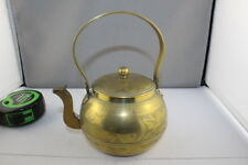 Vintage Brass   Tea Pot with Spout Cover Ornately Etched with Deer Bird Flowers