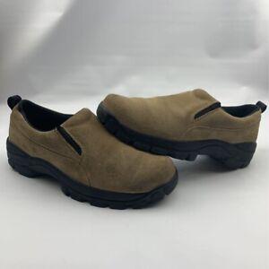 Lands End Mens Slip-On Shoes Beige Black Round Toe 10.5