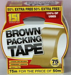 STRONG BROWN PARCEL PACKING  PACKAGING TAPE  48MM X 75M Fast & Free Delivery...