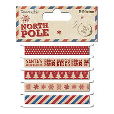 DOVECRAFT CHRISTMAS NORTH POLE  -PRINTED CHRISTMAS RIBBONS FOR CRAFTS