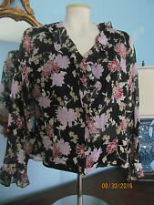 LAURA ASHLEY Romantic Floral Silk Ruffled Blouse Shirt Top~Long Sleeve Lined~12