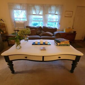 Refinished Broyhill Solid Wood White and Black Minimalist Style Coffee Table