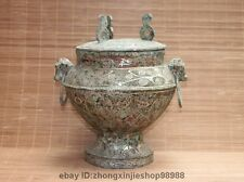 Chinese Dynasty Bronze Silver-Gilt Ancient writing Tank Crock Pot Bottle Vase