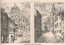 1881 ANTIQUE ARCHITECTURAL PRINT-SKETCHES FROM COUTANCES