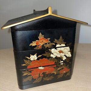 Vintage Japanese Bento Box Jubako Stacking 3 Tier Lunch Box Black Flowers Pagoda