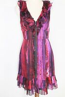 Cue purple sleeveless zip front dress with ruffle trim - AS NEW - 8 *free post*