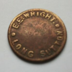 Copper or brass 2d token, E.E. WRIGHT, LONG SUTTON [Lincs], by ARDILL, Leeds