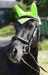 New Hi Vis Reflective Horse Fly Veil Ear Bonnet High Visibility Yellow