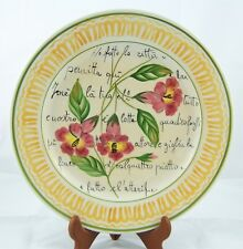 """Vietri Pottery 10"""" Wall Hang Plate Made In Italy Red Flowers"""