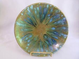 "Monterey Jade Vintage California Pottery Bowl 9"" B4 Signed Blue Green Gold"