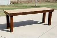 Antique Tiger Oak Harvest Farmhouse Country Ranch Dining Table Kitchen island