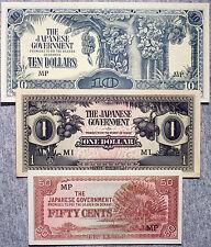 3 diff. Malaya WW2 1940's Japanese invasion paper money 50 cents, $1, $10 xf- Au