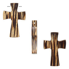 Big 27mm Natural Waxed Wood Cross Focal Bead Wooden Pendant Charm With Hole