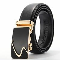 2017 Men's Genuine Leather Automatic Buckle Black Waist Strap Belt Waistband NEW