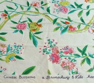 """Brunschwig & Fils Chinese blossoms Hand Print Cotton Fabric Panel 52"""" x 21 1/2"""""""