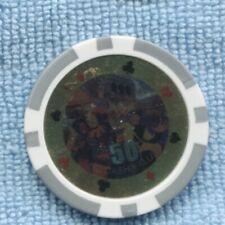 50 Casino Chip no cash value Clubs Hearts Spades Diamonds T-379