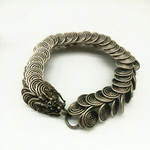 Tibetan Silver Bracelet Handmade Tibetan Silver Bracelet Mascot Dragon Bangle