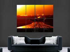 PLANE AEROPLANE POSTER LANDING AIRPORT SUNSET VORTEX ART WALL LARGE IMAGE GIANT