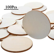 "100 Pcs 1.5"" Round Disc Unfinished Wood Cutout Circles Chips craft Painted Decor"