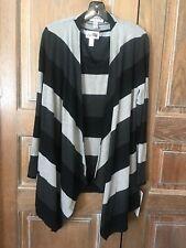 Sweaters *new* Joseph Ripkoff 163966 Gray Black Stripe Fringe Elbow Patch Sweater~large