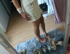 💗 Süßer ☆ Cargo jeans Mini Rock, beige , cotton 40  (36/38) S M  Maße!