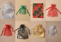 6pc Christmas Organza Gift Bags Favour Pouch Snowflake Red Green Gold Christmas