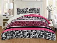 3Pc King Size Hot Pink Black Animal Print Safari Micro Fur Sherpa Comforter Set