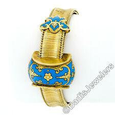 Antique Victorian 14k Gold Wide Mesh Chain Bracelet w/ Turquoise Enamel Buckles