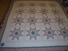 Nice Multi-Color Exploding Star w/Floral Sashing & Frame Quilt