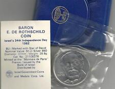 1982 ISRAEL 34th ANNIV. BARON ROTHSCHILD BU COIN SILVER SEALED - MINT CONDITION