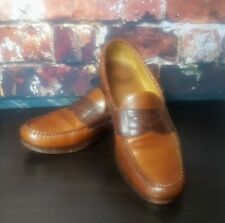 Men's ALLEN EDMONDS Newcastle Brown Leather Woven Trim Penny Loafers