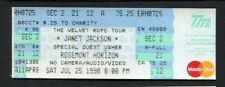 Original 1998 Janet Jackson Usher Unused Full Concert Ticket Rosemont Horizon IL
