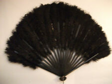 ANTIQUE COLLECTABLE LATE 1800'S MOURNING BLACK OSTRICH FEATHER FOLDING FAN