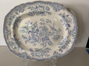 Antique Ridgway Asiatic Pheasant Platter Staffordshire Blue&White Transferware
