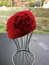 Red Ladies Knit Wide Adjustable Headband Flower Soft Crochet Warm Hair Band