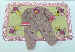 Looney Tunes 1997 Baby Doll Tweety Bird Blanket Sleeper Outfit