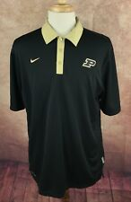 Nike Dri-Fit Golf Polo NCAA Purdue Boilermakers Short Sleeve Black Shirt Men's L