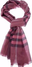Auth Burberry Lightweight Scarf Shawl Pink Silk Wool X-Large Nova Check