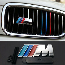 1x M Sport Color Performance Grill Kidney Silver Sticker Alloy Badge For BMW 65