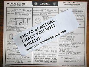 1954 Packard EIGHT Series Clipper 5400 5401 5411 Models AEA Tune Up Wiring Chart