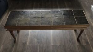C1970 Tiled Top Coffee Table With Opening Top Cutlery Table