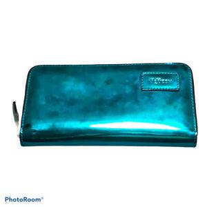 Alexander McQueen striking blue mirrored wallet purse